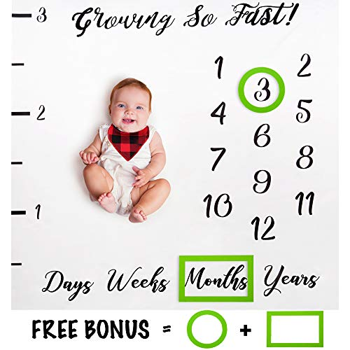 Baby Monthly Milestone Blanket by Brule Gifts | with Bonus M