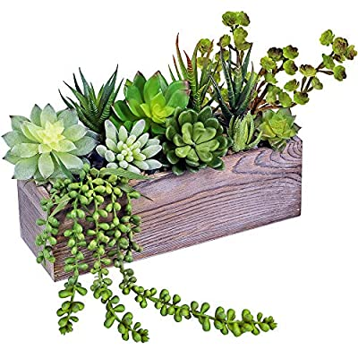 Supla Rustic Wood Pre-Potted Fake Succulent Planter Artificial Pre-Made Succulent Wood Planter Arrangement 11 Pcs Assorted Artificial Succulent Plants in Rectangular Brown Wooden Planter Box
