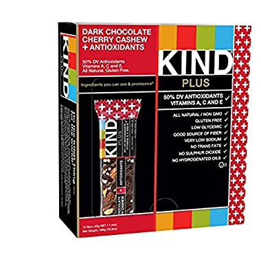 KIND Plus Bars, Dark Chocolate Cherry Cashew + Antioxidants, 1.4 oz, 12 Count - Pack of 2