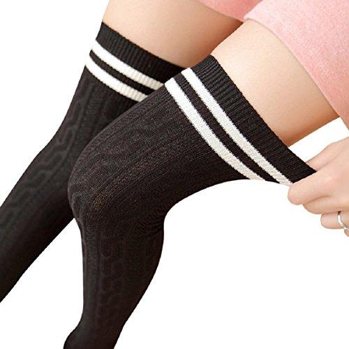 [해외]Ikevan 여자 여자 허벅지 무릎 양말 이상 대학 겨울 따뜻한 부드러운 니트 코튼 스타킹 긴 부팅 양말 가을 겨울/Ikevan Women Girls Thigh High Over The Knee Socks Colleg