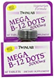 Twinlab Mega B-12 Dots Vitamin B-12, 5000mcg, 60 Tablets (Pack of 2), Health Care Stuffs