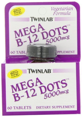 Twinlab Mega B-12 Dots Vitamin B-12, 5000mcg, 60 Tablets (Pack of 2) 500 Mcg 60 Tabs