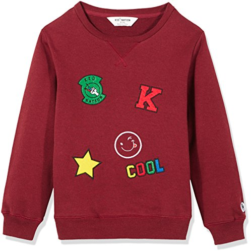 Kid Nation Kids' Brushed Fleece Oversized Longer Length Sweatshirt for Boys Or Girls M Burgundy by Kid Nation