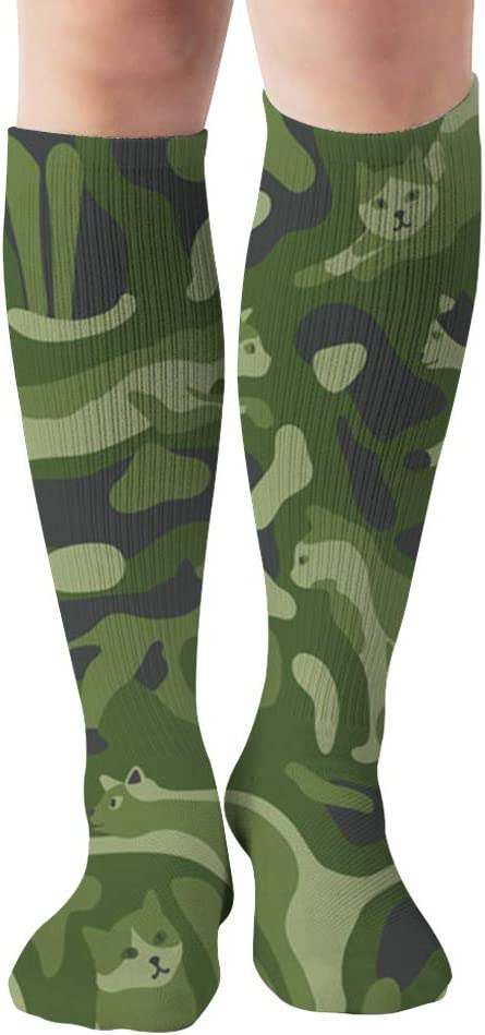 Camouflage Animal Cat Long Socks For Women 2 Pairs Womens Knee High Socks Best For Pregnancy And Travel