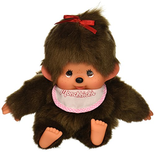 Sekiguchi Monchhichi Original Hand Puppet Girl Monkey Plush with Pink Bib
