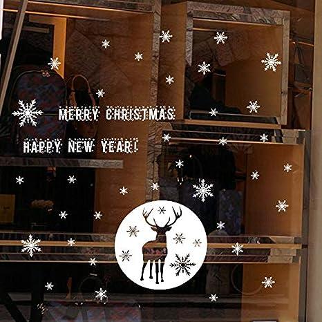 Christmas Elk Etiqueta de la pared estática Tienda de nieve Ventana de vidrio Etiqueta de Navidad Diseño de decoración Decoración del hogar El tamaño de la imagen es solo de referencia