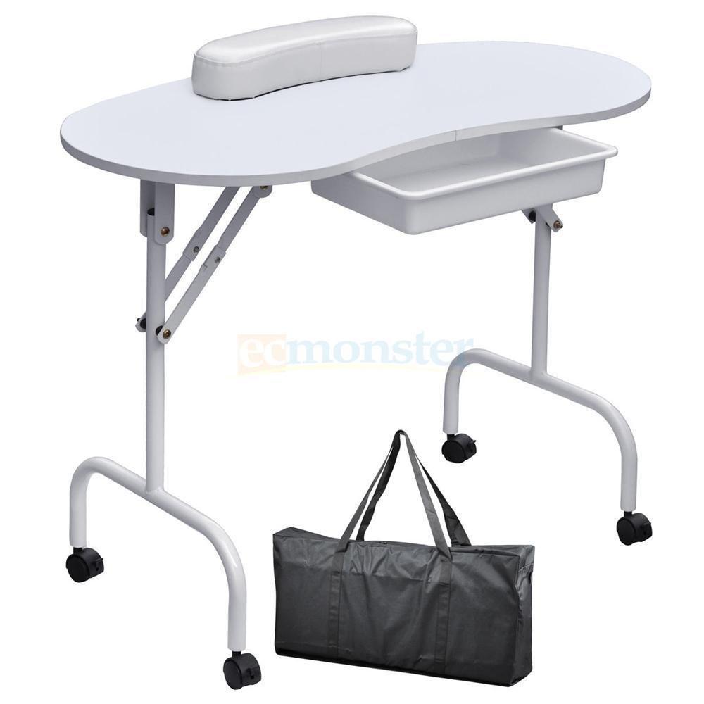 Nail Table Station Portable Desk Spa Beauty Salon Equipment Large White