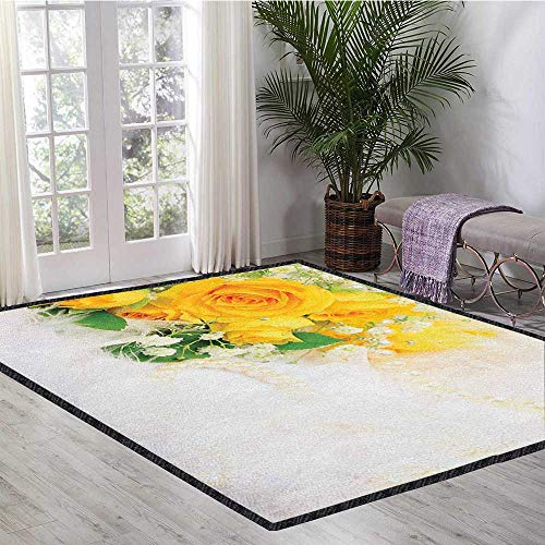 Pearl Carved Rug - Yellow Traditional Bright Area Rug,Bouquet of Romantic and Colorful Roses on a White Background Adoration for Home Decorate Yellow Pearl Fern Green 55