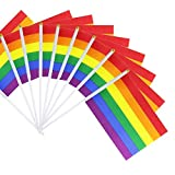 50 Pack Rainbow Pride Gay Stick Flag, Small Mini Hand Held LGBT Flags On Sticks,Decorations Supplies for Mardi Gras,Gay Pride Rainbow Party
