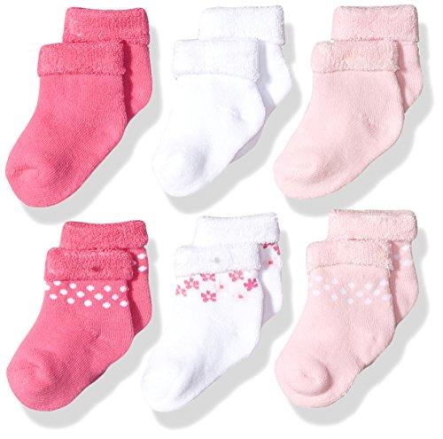 Gerber Baby Girls 6 Pair Socks, Lilac Flowers, 0-3 Months