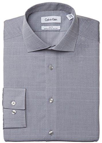 Calvin Klein Men's Slim Fit Non Iron Grey Textured Stripe, Mercury, 15 32/33