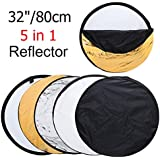 MOUNTDOG 32'' Photography Reflector Photo Video Studio Multi Collapsible Disc Lighting 5-in-1 for Filming Shooting