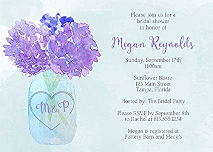Amazon Com Bridal Shower Invitations Hydrangea Jar Baby Shower