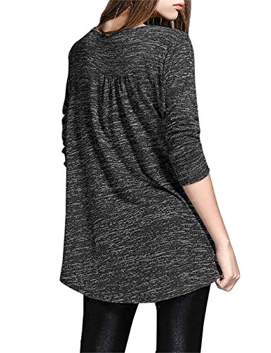Timeson Women Loose Fit Long Sleeve High Low Bottom Ruched Blouse Tops Medium Black