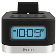 Sound Design iHome Stereo FM Clock Radio with Lightning Dock for iPhone and iPod, iPL8BN