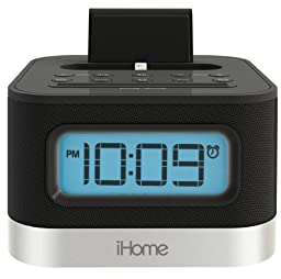 iHome iPL8BN Stereo FM Clock Radio with Lightning Dock for iPhone/iPod - Black
