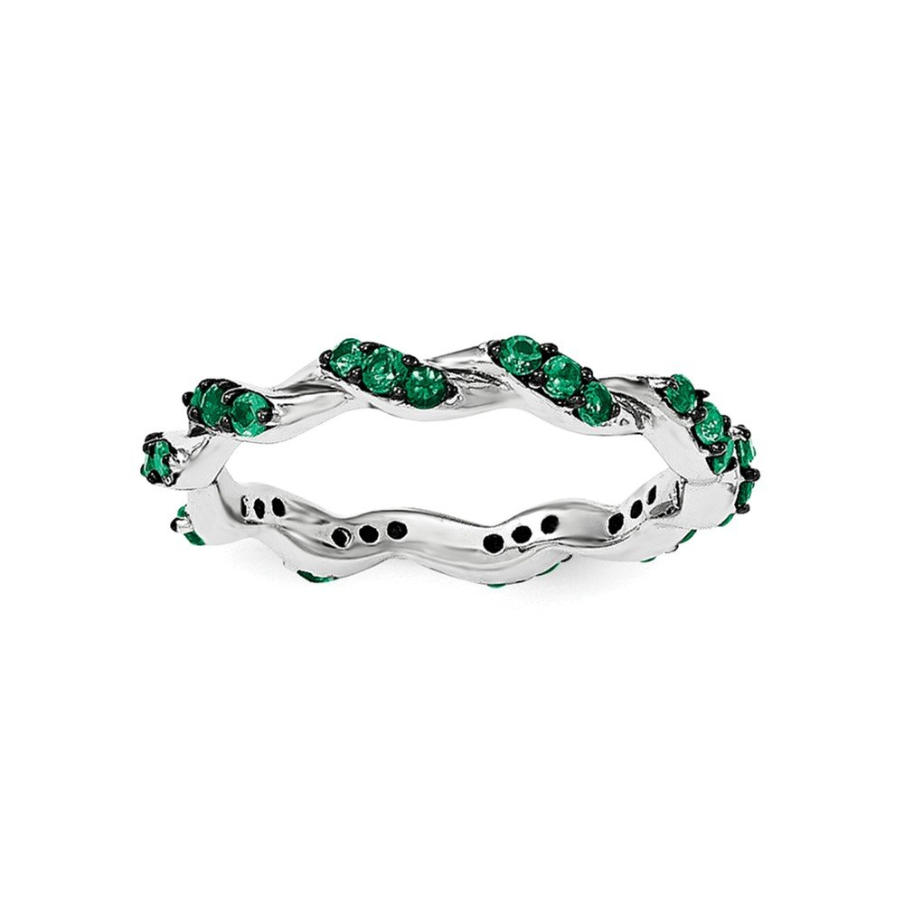 Sterling Silver Created Eemerald Eternity Ring - Size 7