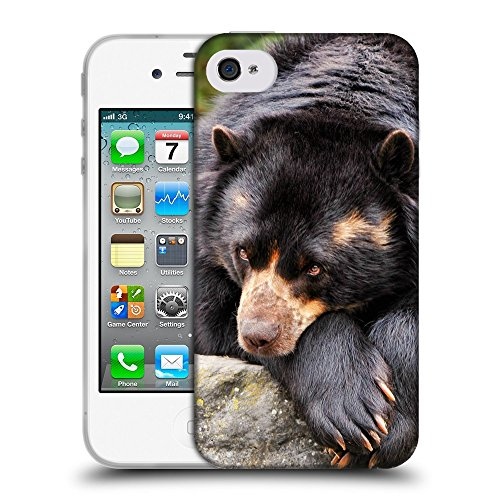 Just Phone Cases Coque de Protection TPU Silicone Case pour // V00004097 Ours brun regard triste // Apple iPhone 4 4S 4G