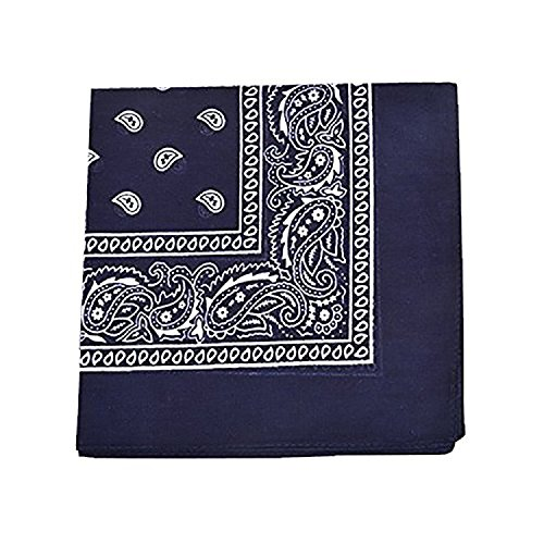 Daily Basic 100% Cotton X Large Paisley Double Sided Printed Bandana (Navy Blue)