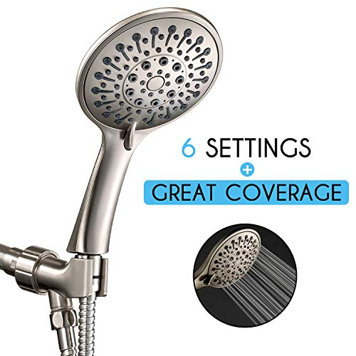 ANZA High Pressure Handheld Shower Head With Hose, 6 Spray Modes, Luxury Spa Grade, Rainfall 4.7