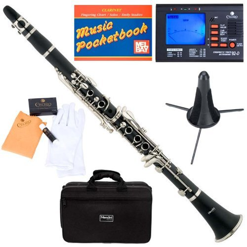 mendini-mct-e-sd-pb-92d-black-ebonite-b-flat-clarinet-with-tuner-case-stand-mouthpiece-10-reeds-and-