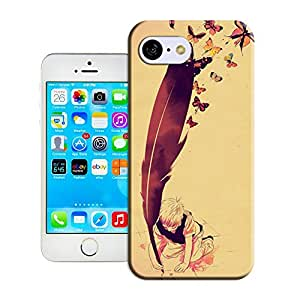 Custom Iphone 5c Pressure-Proof Slim Phone Case Cover Boy With Giant Feather Butterflies Flying Freedom By Longcase
