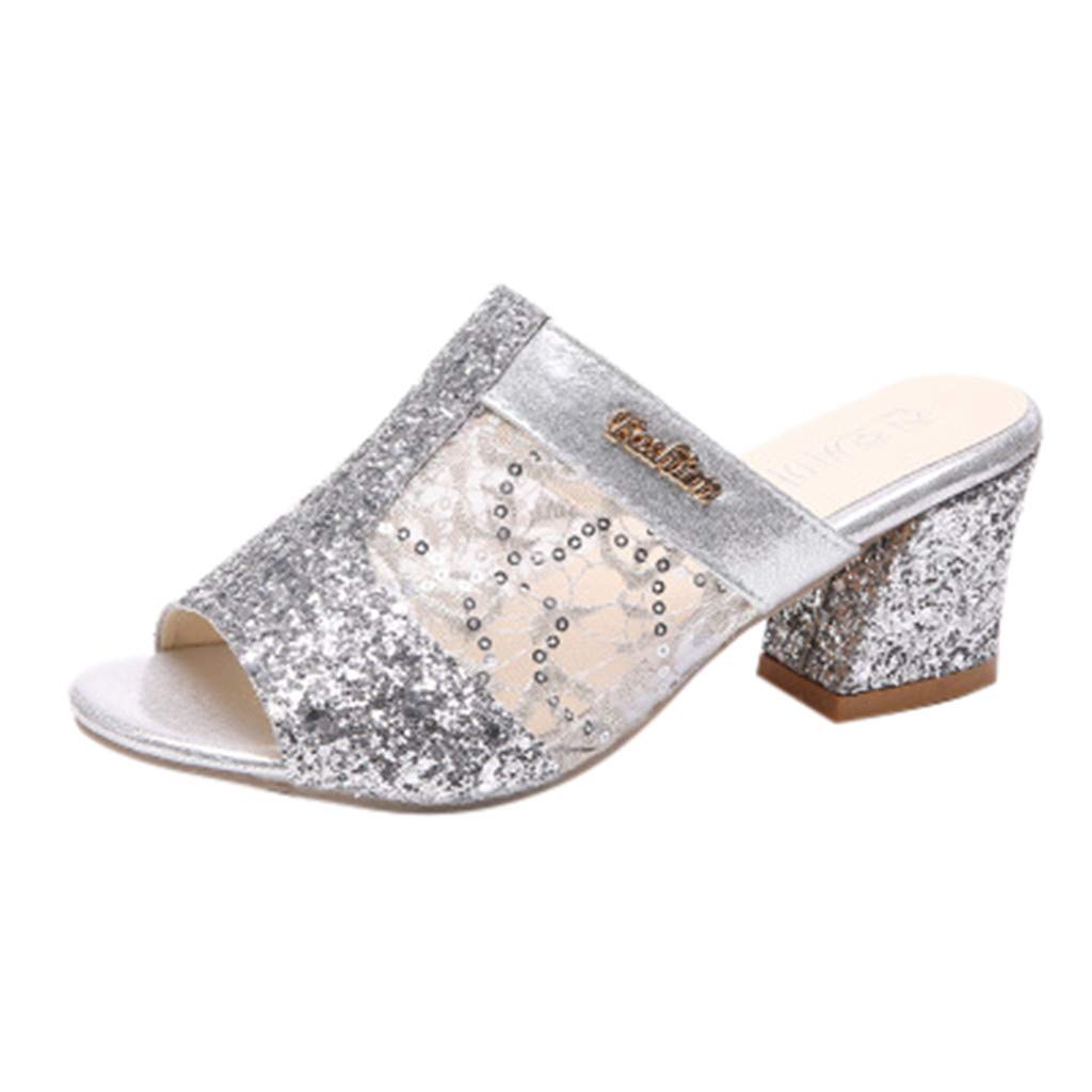 Women's Sexy Mesh Crystal Slipper Sandals - Casual Slip On Mid Heel Peep Toe Slipper Sandals Dress Party Shoes 4.5-8 (Silver, US:7)