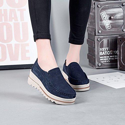EnllerviiD Women Slip On Suede Moccasins Wide Outdoor Platform Heel Loafer Shoes 522 Blue TUTkd8x7