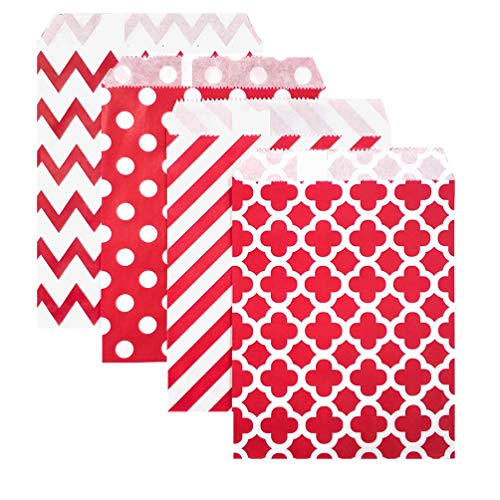 KEYYOOMY 100 Pcs Candy Buffet Bags Small Polka Dot Paper Treat Bags (Red, 5 inch X 7 inch) ()