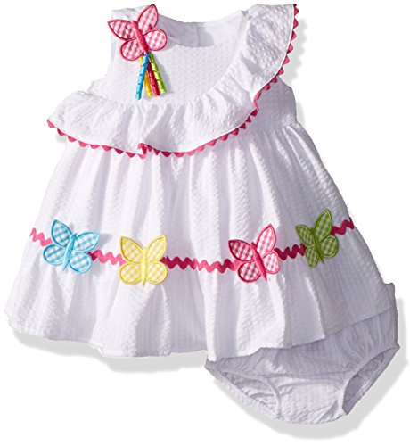 Bonnie Baby Baby Girls Appliqued Dress and Panty, Butterflies, 3-6 Months ()