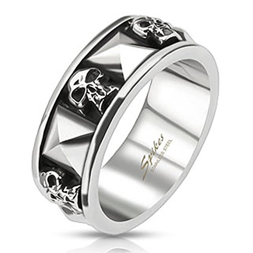 Jinique STR-0044 Stainless Steel Skull and Pyramid Combination Cast Band Ring; Comes With Free Gift Box