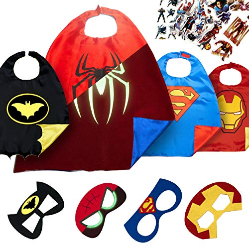 Super Hero Capes for Kids Toys – Dress Up Clothes for Boys – Superhero Party Supplies Birthday – 4 Kids Costumes with Glow in The Dark Spiderman -