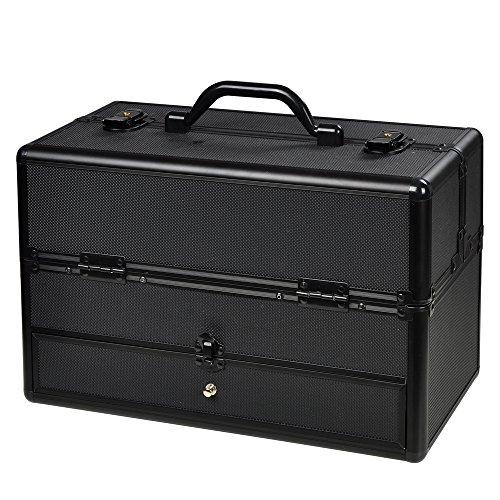 Black ABS Aluminum Cosmetic Makeup Train Case W/ Drawer Trays (Aluminum Train Case)