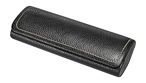 Glasses Case For Men, Women, Hard Eyeglass Case W/ Magnetic Closure In Faux Leather, Black (Glasses Case Magnetic)