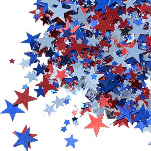 TYPEIN Independence Day Multicolored Stars Confetti Sequin, Confetti Glitter No Hole Embellishment for Party -