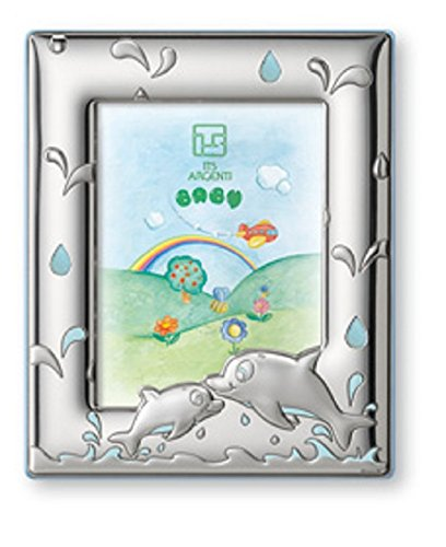 STERLING SILVER PICTURE FRAME - DOLPHINES . Made in Italy (Pink Back)