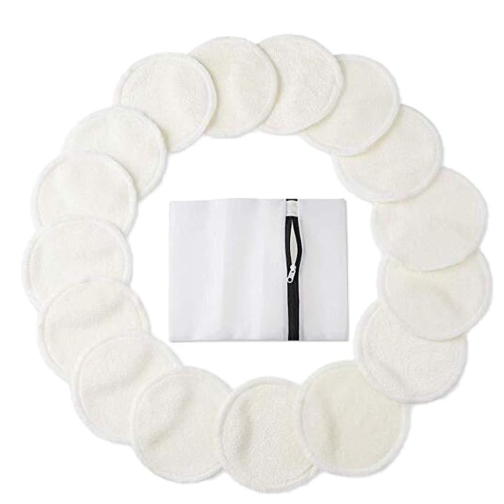 almohadilla lavable con bolsa de lavander/ía almohadillas de algod/ón de bamb/ú para limpieza facial y maquillaje de ojos OuYou 16 almohadillas reutilizables de bamb/ú para quitar maquillaje