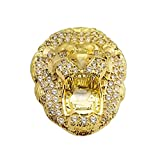 Men's Lion Head Ring 10K Yellow Gold Lion Face Ring Size 8 Pinky Ring