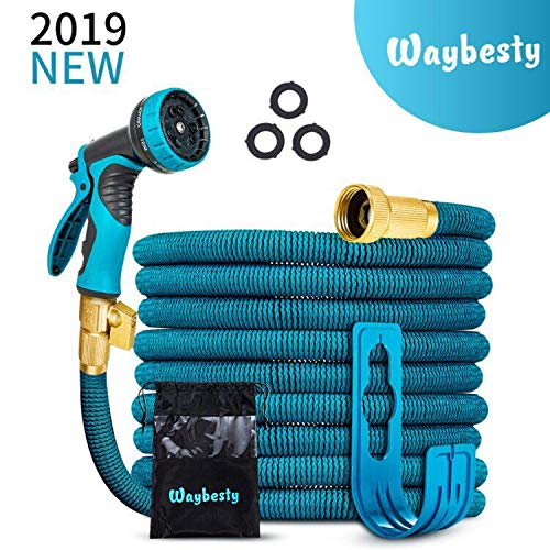 50ft Expandable Garden Hose-2019 New Model Expandable Hose with Double Latex Core-3/4 Solid Brass Connector-Heavy Duty Flexible Leakproof Water Hose with 9 Function Spray Nozzle (Blue, 50)