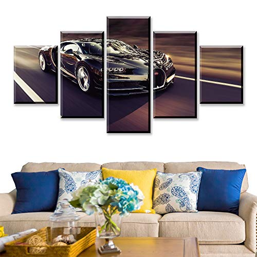 lzmlzm 5 Canvas Paintings Modular HD Print Artwork Modern Sports Car Poster Home Decor Modern Wall Art 5 Pieces Pictures 1965 Mustang Canvas Painting
