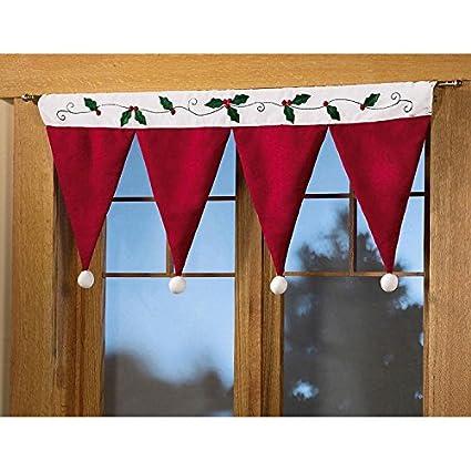 christmas santa hat curtain valance christmas window decorations decals home room wall window decorations - Christmas Window Decorations Amazon