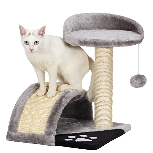 Ollieroo Small Cat Tree Sisal Scratching Post Furniture Playhouse Pet Bed Kitten Toy Cat Tower Condo for Kittens (Grey)