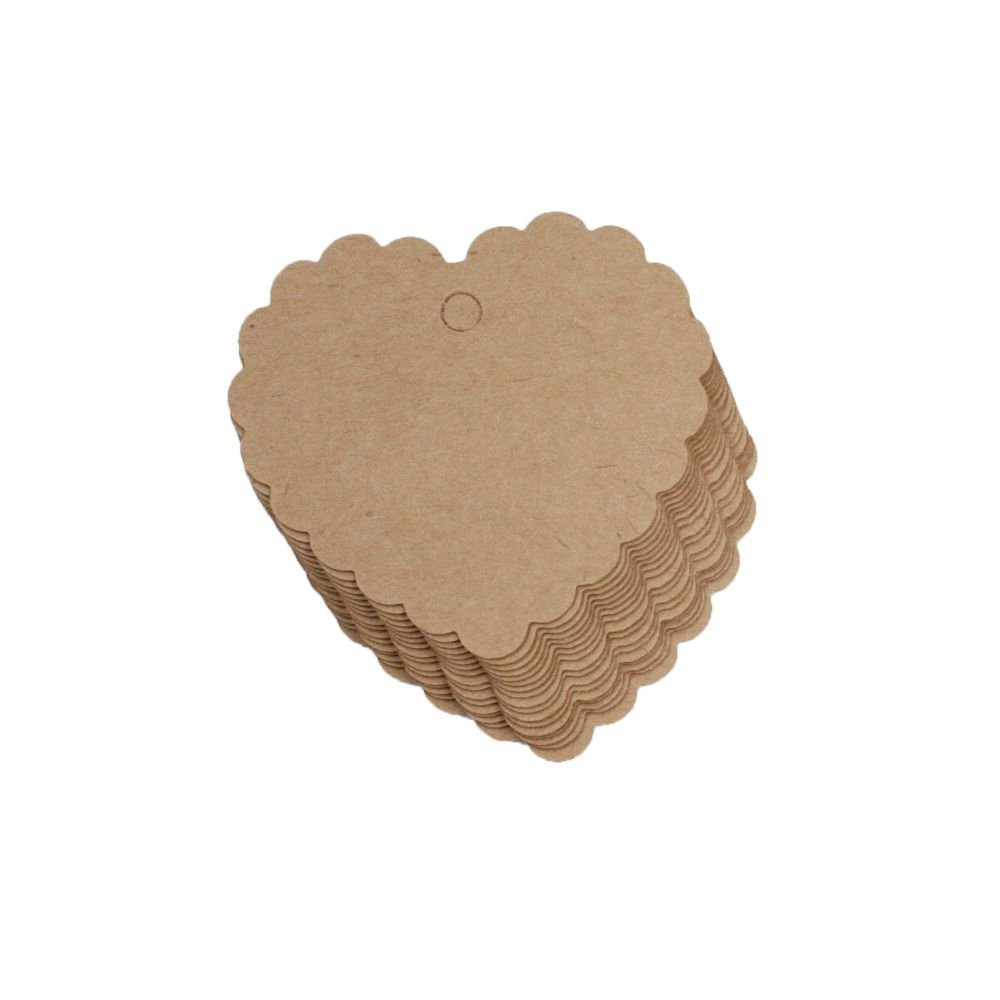Set of 100PCS Kraft Paper Gift Tags Party Favor Heart Shape Gift Kraft Paper Tags for Arts and Crafts Wedding Christmas Thanksgiving Tags White