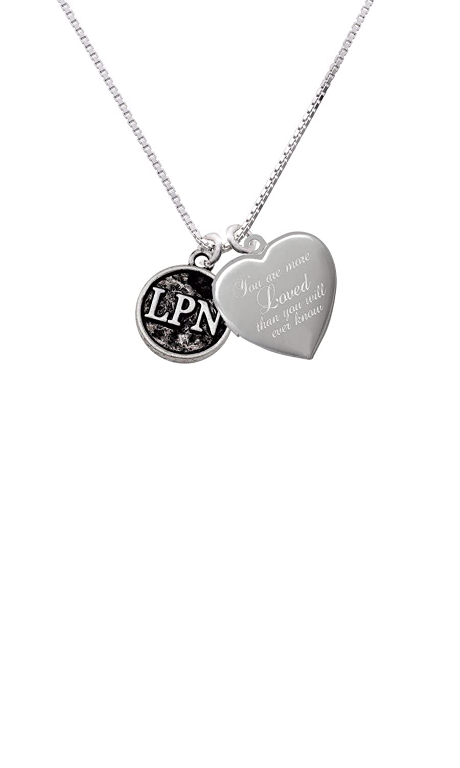 Nurse Caduceus Seal LPN Custom Engraved You are more Loved Heart Locket Necklace