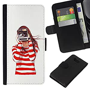 Stuss Case / Funda Carcasa PU de Cuero - C¨¢mara Redhead White Girl - Samsung ALPHA G850