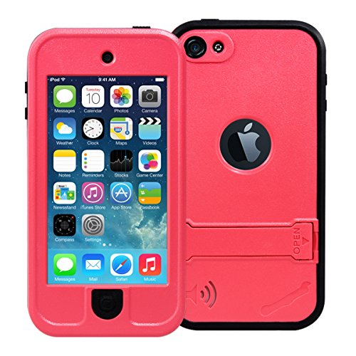 iPod 5 Case, iPod 6 case, Through iPod Touch 5 Waterproof Case with Stand, Dust Proof, Snow Proof, Shock Proof Case, Scratch Protective Carrying Cover Case for iPhone iPod 5, iPod 6 (Pink)