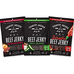 Country Archer 100% Grass-Fed Gluten Free Beef Jerky, Sriracha, Crushed Red Pepper, Sweet Jalapeno, 3 Count