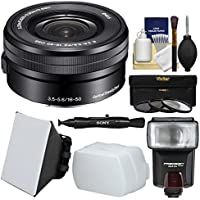 Sony Alpha E-Mount 16-50mm f/3.5-5.6 OSS PZ Zoom Lens with Flash + Soft Box + Diffuser + 3 Filters Kit for A7, A7R, A7S Mark II, A5100, A6000, A6300