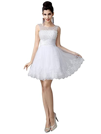 Edith Qi Sleeveless Beaded Short Prom Party Dress Cute Wedding Dress