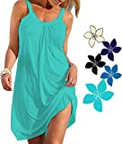 Ecolley Solid Color Cotton Casual Dresses Beach Cover up Cute Beach Swimsuit Cover up Size L